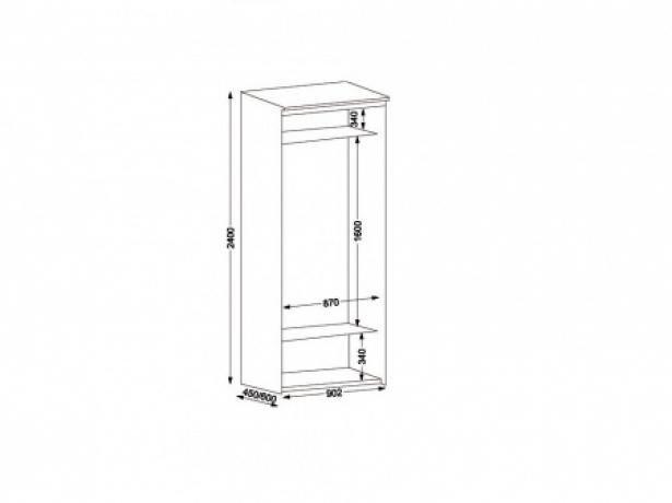 Шкаф купе Эконом 2-х дверный с зеркалом ширина 90 см